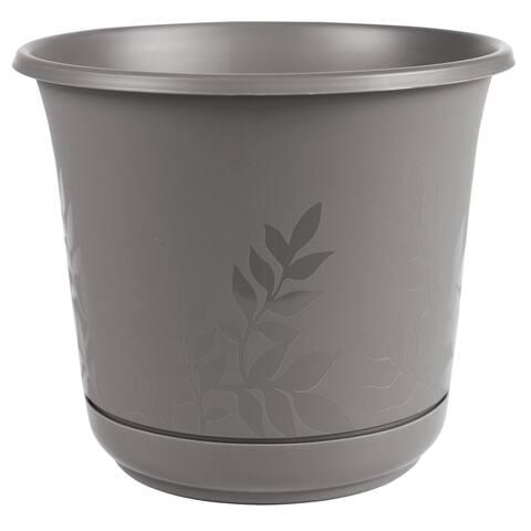 "Bloem Freesia Planter w/ Saucer 16"" Charcoal Gray - 16"