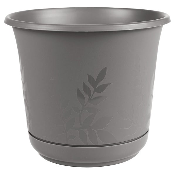 """Bloem Freesia Planter w/ Saucer 16"""" Charcoal Gray - 16. Opens flyout."""