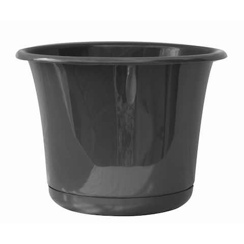 """Bloem Expressions Planter w/ Saucer 8"""" Charcoal Gray - 8"""