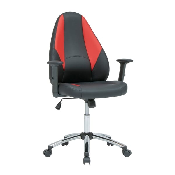 SD Gaming Contoured Swivel, Gamer/Office Chair with Tilt and Height Adjustable Seat and Arms with Chrome Base