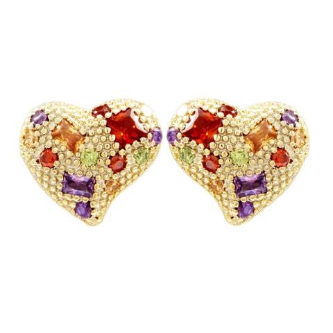 Luxiro Gold Finish Multi-color Crystals Heart Post Earrings