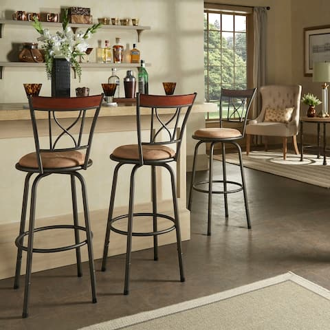Verona Adjustable Bronze Curve X-Back with Wood Trim 3pc Pack Stools by iNSPIRE Q Classic