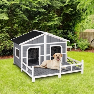 "Link to PawHut Wooden Large Dog House, Perfect for the Porch or Deck and Includes Bottom Slide-Out Tray, 59"" L, Grey Similar Items in Dog Feeders & Waterers"