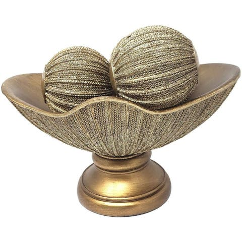 Home Decor Raised Tray and Orbs Balls Set of 3 - Coffee Table Mantle Decor Centerpiece Bowl with Spheres House Decorations-GOLD