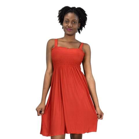 Juniors Knee Length Multicolor Exotic Smocked Printed Summer Dress
