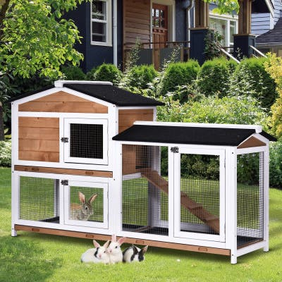 PawHut 2-tier Wood Rabbit Hutch Backyard Cage Small Animal House with Entrance Ramp, Lockable Doors, & Large Outdoor Run