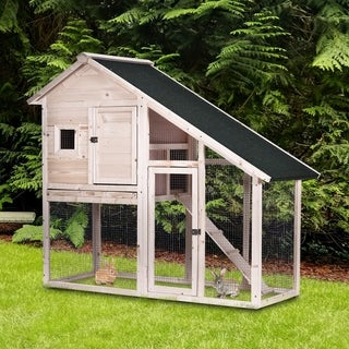 """PawHut 2-tier Wood Rabbit Hutch Backyard Cage Small Animal House with Ramp and Outdoor Run, the Perfect Project, 55"""" L"""