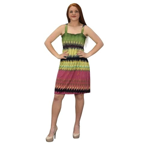 Peach Couture Knee Length Multicolor Smocked Printed Summer Dress