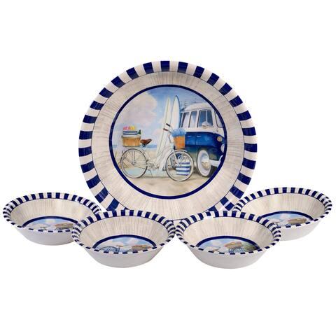 Certified International Beach Time 5-piece Salad/Serving Set - Blue