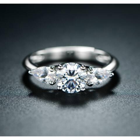 Peermont 3 Stone Minimalist Ring Made with 18k White Gold Overlay