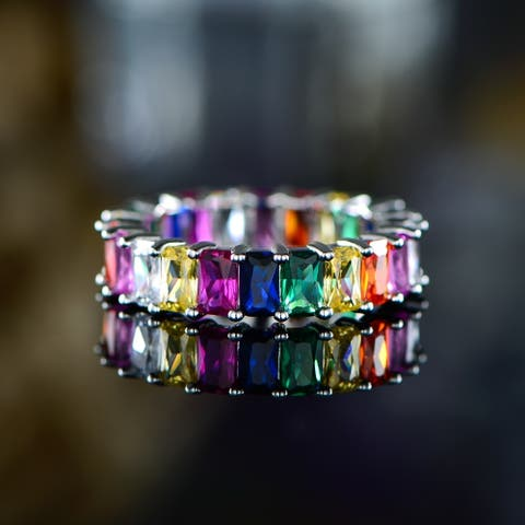 Peermont 18k White Gold Plated Emerald-Cut Multi Colored Gemstone Eternity Ring