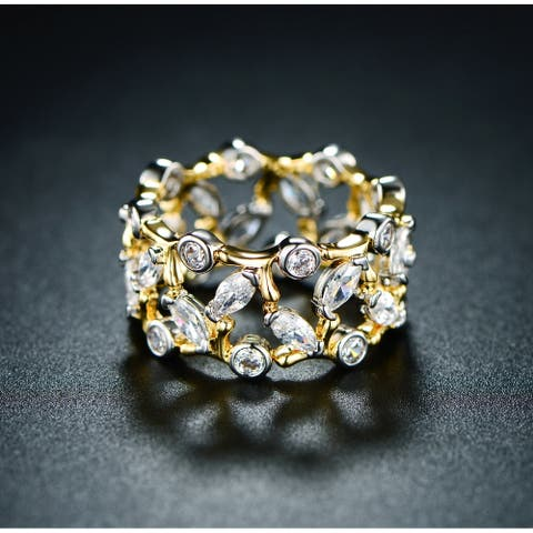 Peermont 18k Gold Plated Vine Ring Made with Swarovski Elements