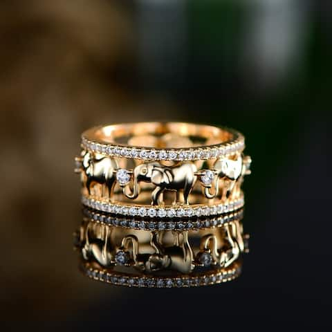 Peermont 18k Yellow Gold Plated Cubic Zirconia Elephant Ring