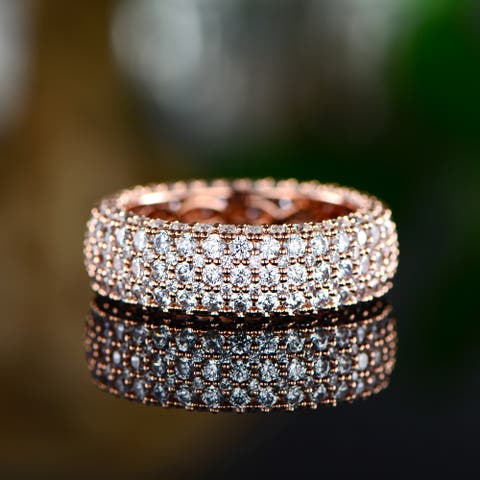 Peermont 18k Rose Gold Plated 5 Rows French Setting Ring