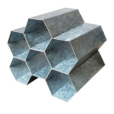 Galvanized Metal Tabletop Rack with 6 Honeycomb Design Bottle Storage, Gray
