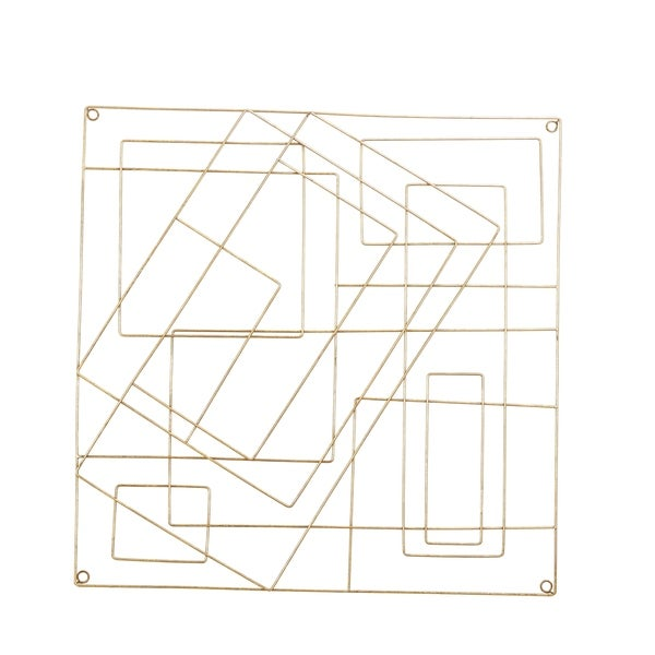 Contemporary Style Square Frame Metal Wall Decor, Gold