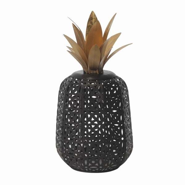 Metal Pineapple Decor with Cut Out Details, Small, Black and Bronze