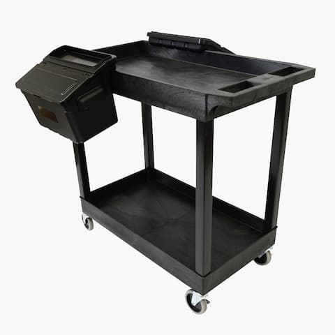 """32"""" x 18"""" Tub Cart - Two Shelves with Outrigger Utility Cart Bins"""