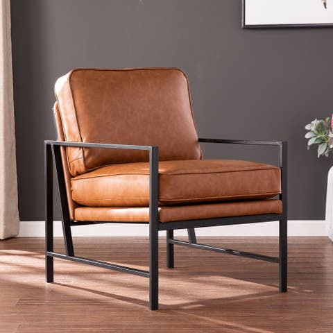 Strick & Bolton Kemper Faux Leather Upholstered Accent Chair