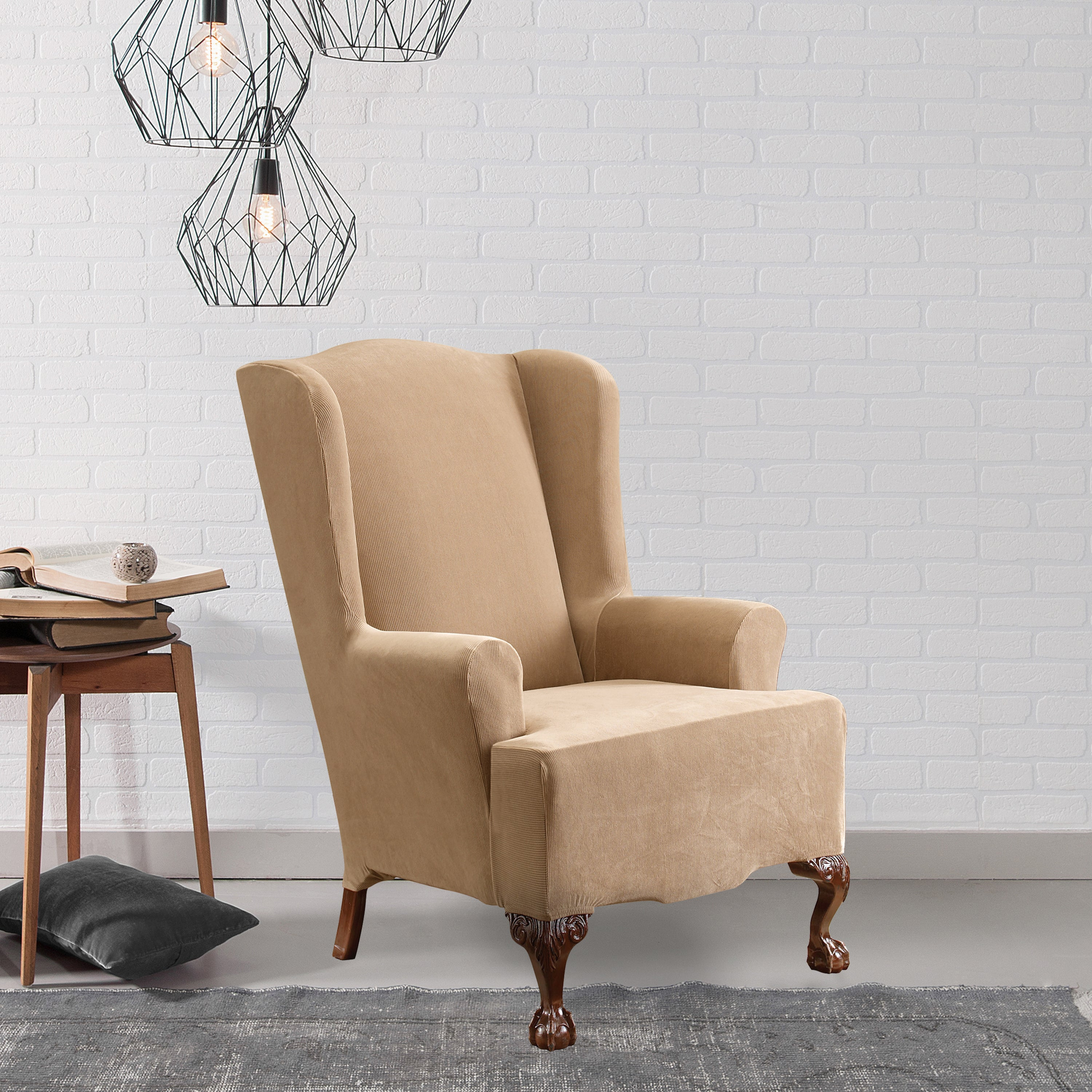 Picture of: Shop Black Friday Deals On Sure Fit Stretch Pearson Wingback Chair Slipcover Overstock 3079345