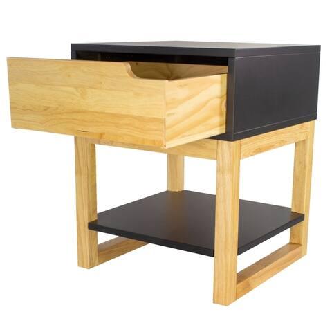 Mid Century Modern Wood One Drawer Side Table w/ Shelf