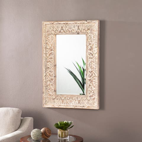 Gracewood Hollow Earton Traditional White Wood Wall Mirror
