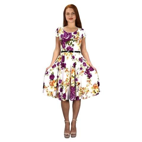 Vintage Fashion Waist Belt Fit Flare Swing Dress Frock Dresses
