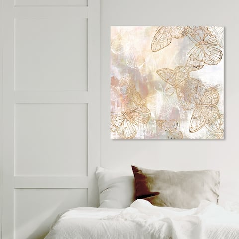 Wynwood Studio 'Butterfly Garden' Animals Wall Art Canvas Print Insects - Gold, White
