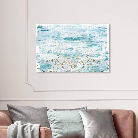 Wynwood Studio 'Splashing Gold' Abstract Wall Art Canvas Print Paint - Blue, Gold