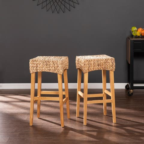 The Curated Nomad Kalip Tan Wicker Counter Stools (Set of 2)