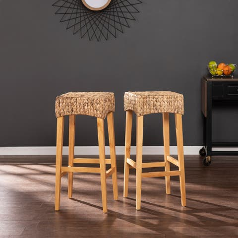 The Curated Nomad Kalip Tan Wicker Barstools (Set of 2)