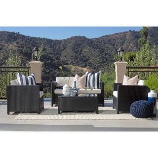 Link to Rhonn 4-piece Black Squared Wicker Outdoor Sofa Set by Havenside Home Similar Items in Outdoor Loveseat