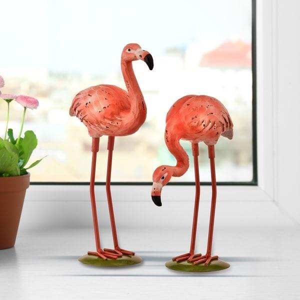 """Resin & Metal Flamingo 7-9.5"""" Set of 2"""