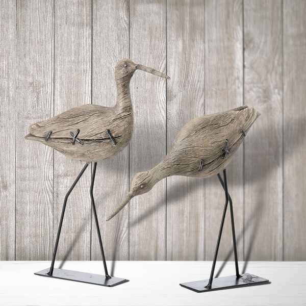 "Resin & Metal Sand Piper 8-10"" Set of 2"