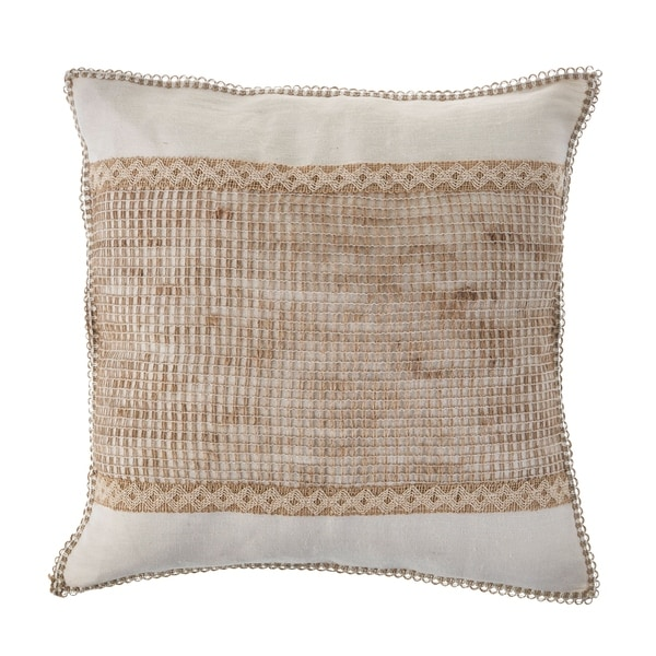 Tan and Off-White Color Block Throw Pillow