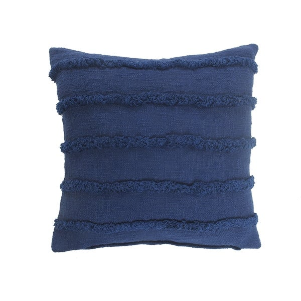 Deep Blue Overtufted Solid Throw Pillow