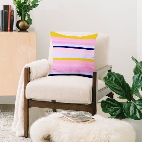 Deny Designs Pink and Yellow Stripes Throw Pillow (6 size options)