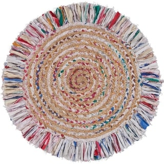 """Bleached Multicolored Chindi and Natural Jute Fringed Round Rug - 5'6"""" Round"""