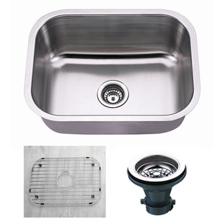 "Premium Undermount 16 Gauge Stainless Steel 23"" Single Bowl Kitchen Sink with Grid and strainer"
