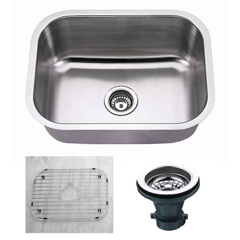 "Premium Undermount 18 Gauge Stainless Steel 23"" Single Bowl Kitchen Sink with Grid and strainer"