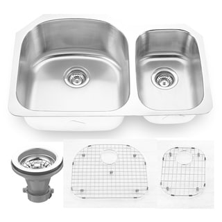 """Link to Premium Undermount 16 Gauge Stainless Steel 31.5"""" 65/35 Double Bowl Kitchen Sink with Grid and strainer Similar Items in Sinks"""