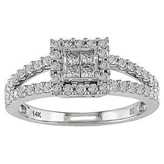 Miadora 14k White Gold 5/8ct TDW Composite Princess Cut Diamond Ring