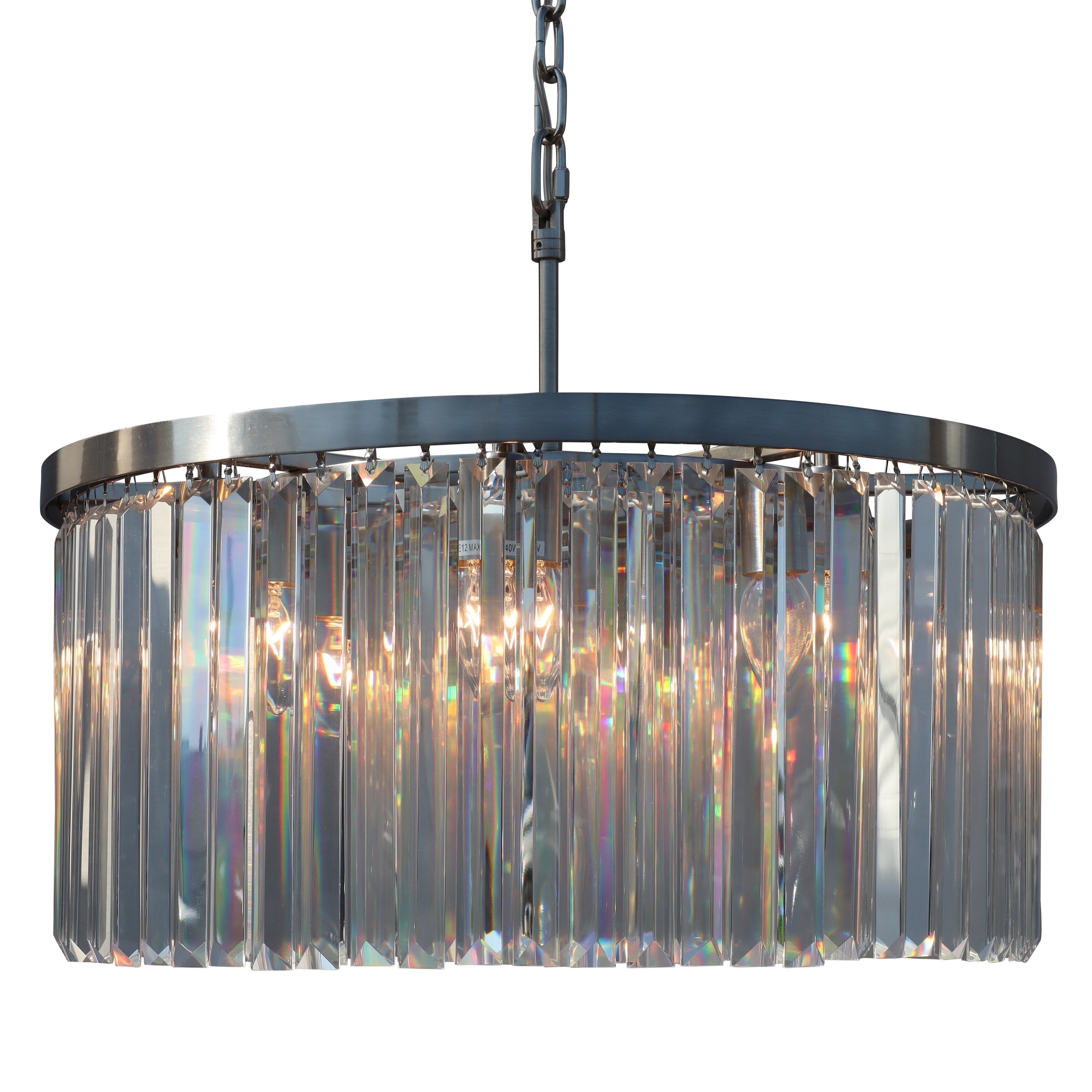 Shop Dangelo 8 Light Round Glass Crystal Chandelier Brushed Nickel Small 24 5 Overstock 30798516