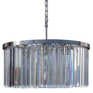 DAngelo 8 Light Round Glass Crystal Chandelier, Brushed Nickel, Small - 24.5