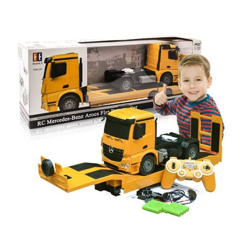 Remote control truck with heavy equipment trailer