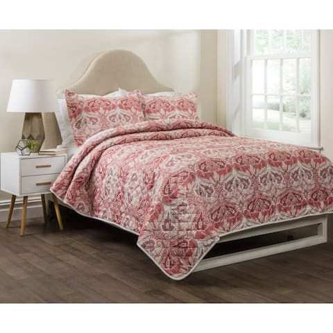 Nadia Printed 3-Piece Quilt Set in Spice