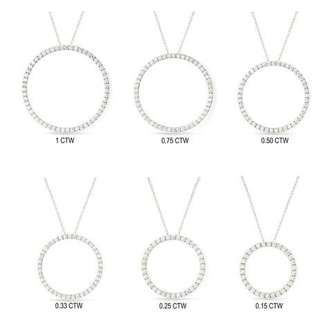 1/6ct - 1ct TDW Diamond Open Circle Nekclace in 14k Gold by De Couer