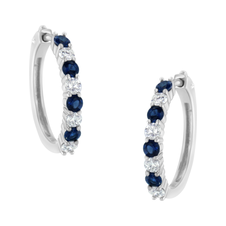 10K White Gold Round Blue Sapphire /& White Diamond Ladies Hoop Earrings