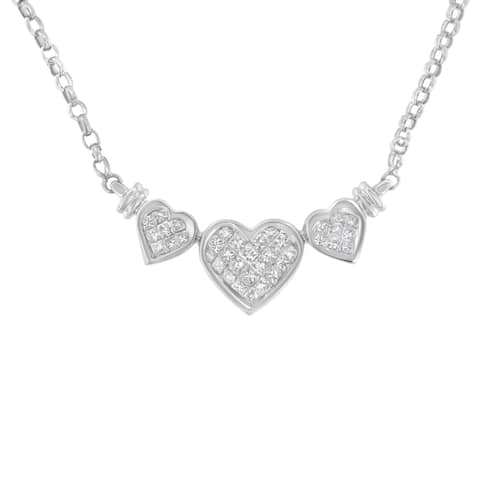 14K White Gold 1ct. TDW Diamond Three Heart Shape Statement Necklace (H-I,SI2-I1)