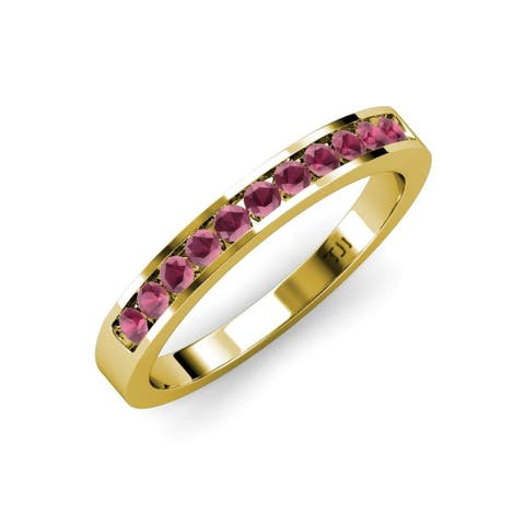 TriJewels Rhodolite Garnet 1/4 ctw 11 Stone Wedding Band 18KY Gold